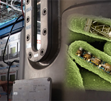 Collage: Bioreactor in pilot-scale, with cell factories, producing biobased products